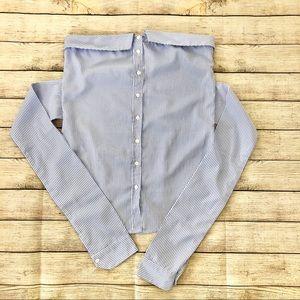 Fashion Nova Off Shoulder Stripe Button Down Shirt